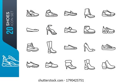 Shoes - minimal thin line web icon set. Outline icons collection. Simple vector illustration