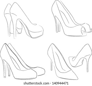 shoes outline | vector (many points)