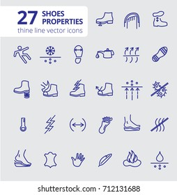 Shoes properties symbols. Shoe technical characteristics. These icons indicate properties of footwear. Thin line icons. Editable strokes. Vector. Working and safety shoes