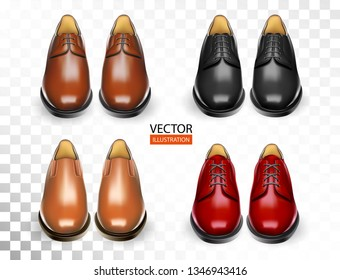 Shoes realistic set with stylish black, red, orange, brown men oxford boots isolated vector illustration for cobbler shoe shop for ads, promo and banner of accessories kit for shoeshine service