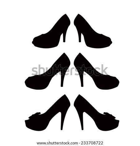 d76b6664efe5 Shoes Set Silhouette Stock Vector (Royalty Free) 233708722 ...