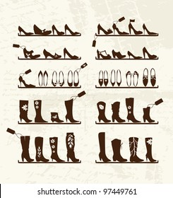 Shoes shop, boots on shelves, sketch for your design