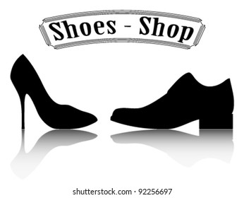 Shoes shop illustration. Male and female shoes silhouette.