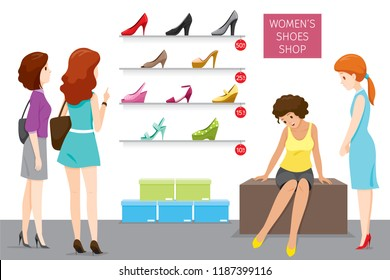 Women's Shoes Shop With Saleswoman And Customers, Footwear, Fashion, Objects, Occupation, Profession, Working