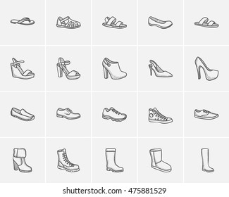Shoes sketch icon set for web, mobile and infographics. Hand drawn shoes icon set. Shoes vector icon set. Shoes icon set isolated on white background.