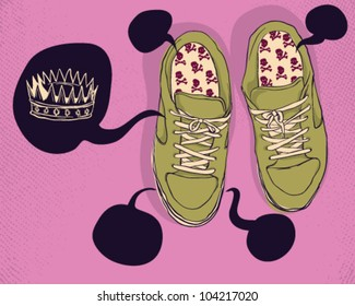 Shoes with skulls and crown