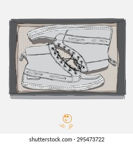 Shoes, sneakers in the style of hand drawn. Sketch style. Vector illustration. Shoes in a box.