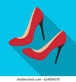 Shoes with stiletto heel icon in flat style isolated on white background. France country symbol stock vector illustration.