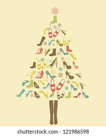 Shoes template for christmas shape for vintage style, vector