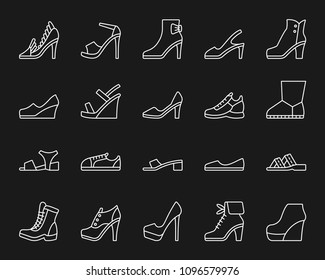 Shoes thin line icons set. Outline monochrome web sign kit of footwear. Fashion linear icon collection includes boot, sandals, mules. Simple shoes white symbol isolated on black. Vector Illustration