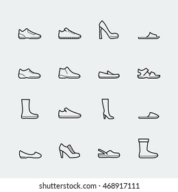 Shoes vector icon set in thin line style