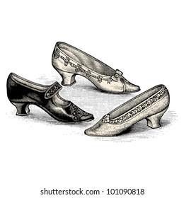 "Shoes- Vintage engraved illustration - ""La mode illustree"" by Firmin-Didot et Cie in 1897 France"