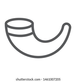 Shofar line icon, religion and israel, jewish horn sign, vector graphics, a linear pattern on a white background, eps 10.