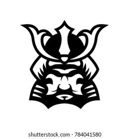 shogun A Japanese mask and helmet illustration