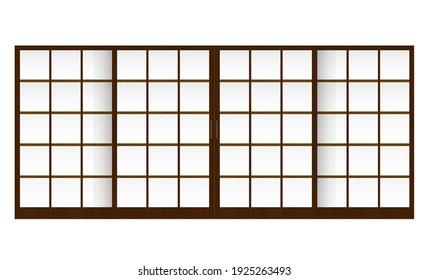 Shoji ( japanese traditional sliding door ) vector illustration