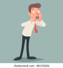 Shoked Vintage Businessman Character Icon Man Surprise Expression Cartoon Design Vector Illustration