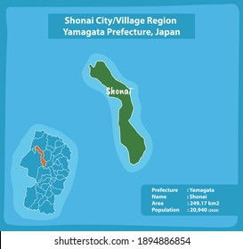 Shonai City or Village Region Yamagata Prefecture Map Japan