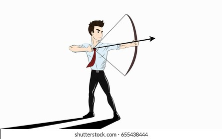 Shoot arrows for the future. Business vector concept illustration