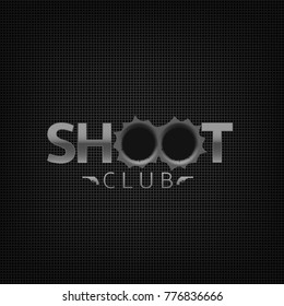 Shoot club emblem. Shooting range gallery logo sign