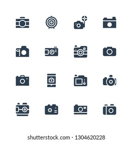 shoot icon set. Collection of 16 filled shoot icons included Camera, Photo camera, Dart board