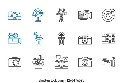 shoot icons set. Collection of shoot with video camera, photo camera, camera, sprout, dart board. Editable and scalable shoot icons.