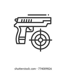 Shooter - line design single isolated icon on white background. High quality black pictogram, emblem. Image of a of a gun and target. Game concept