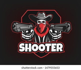Shooter Mascot Logo for Sport and Esport isolated on dark Background