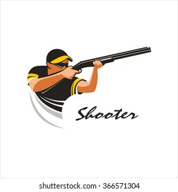 Shooter. Shooting from a gun on plates mark, logo. Vector Illustration. Isolated on white background.