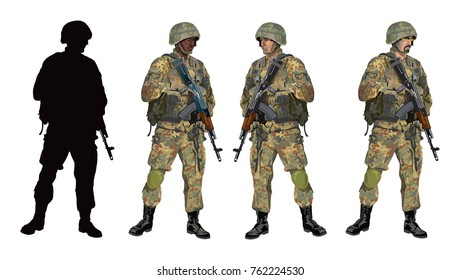 Shooter soldier as color detailed vector illustration. Isolated on white background.