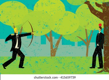Shooting an apple on the head of a business man A risk taker attempting to shoot the apple on a man's head with a bow and arrow.