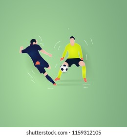 shooting ball in front of goal keeper. football player. soccer paper cut design style.