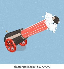 Shooting cannon. Isometric vector illustration