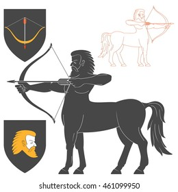 Shooting Centaur Archer Illustration For Heraldry Or Tattoo Design Isolated On White Background. Heraldic Symbols And Elements