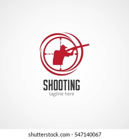 Shooting Club Logo Design Vector. Vector Illustration with flat style.