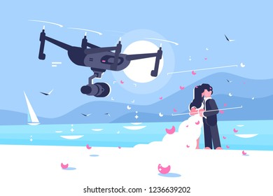 Shooting drone over wedding flat poster. Flying quadcopter shoots on camera celebration of marriage of newlyweds couple on seaside vector illustration. Modern technologies concept