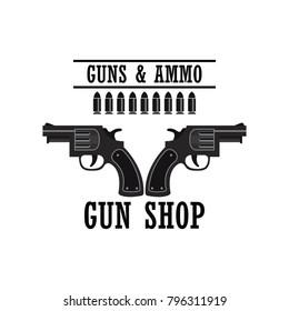 shooting gun logo for shooting club, vector illustration
