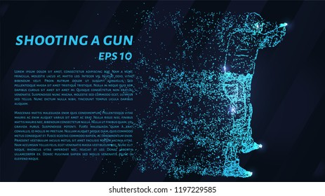 Shooting a gun from the particles. A man fires a gun. Silhouette of circles and dots. Vector illustration.