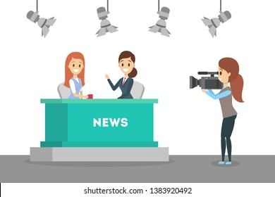 Shooting news show in the studio. Newscaster in business suit. Cameraman and videographer standing with camera. Interview on TV. Isolated flat vector illustration