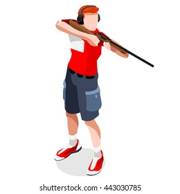 Shooting Player Sportsman Games Icon Set. 3D Isometric Shooter Athlete. Sporting Championship People Shooting Competition. Sport Infographic events Shooting Vector Illustration.