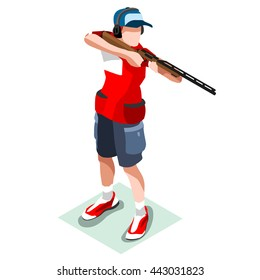 Shooting Player Sportsman Games Icon Set. 3D Isometric Shooter gun Athlete. Individual Sport Championship People Shooting Competition. Sport event Infographic Shooting Vector Illustration