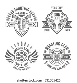 Shooting range or shooting club monochrome vector labels, badges, emblems isolated on white background