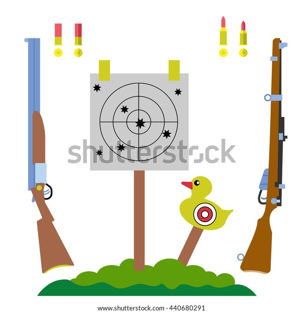 shooting range, hunting equipment set with gun, rifle, duck target and tree landscape vector illustration, in flat style, for sports design