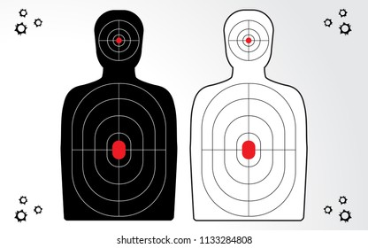 Shooting range target isolated vector for gun game player target practice.