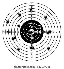 Shooting range target shot of bullet holes, vector illustration