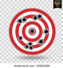 Shooting range target shot full of bullet holes.