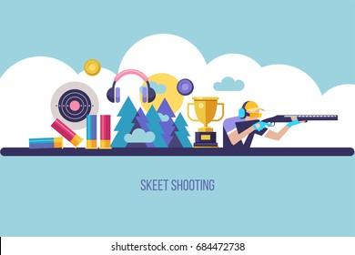Shooting Skeet. The elements of design. Set of vector elements. Vector illustration.