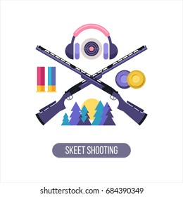 Shooting Skeet. The emblem of the sports club. Set of vector design elements.