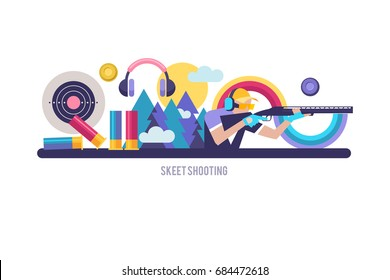 Shooting Skeet. Illustration on the theme of Skeet. Set of vector elements.