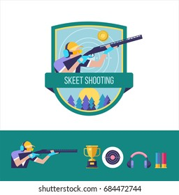 Shooting Skeet. The logo of the sports club. Set of vector design elements.