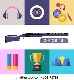 Shooting Skeet. Set of colored vector design elements. Square icons.